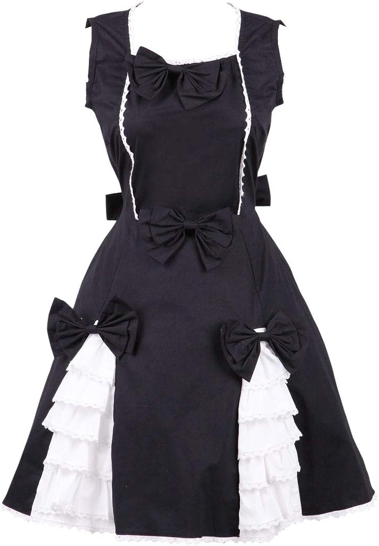 Antaina Black Cotton Bows Ruffle Classic Retro Gothic Lolita Cosplay Dress