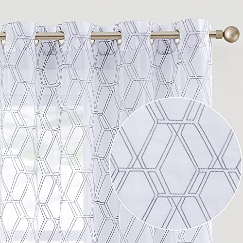 Grey Window Sheer Curtains Panels Drapes Grommet Window Curtains for Bedroom Embroidered Geometry Lattice Window Treatment Set for Living Room 95 Inch 2 Panels