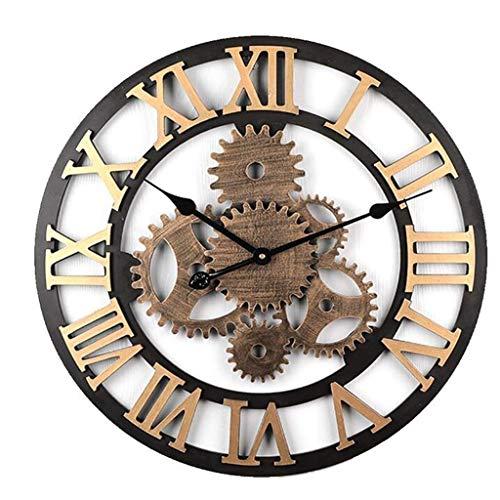 W-xiao uhr Holz römischen ziffern wanduhr Retro Getriebe industriellen Stil wanduhr Wohnzimmer Dekoration einfach und ruhig große wanduhr (Durchmesser 58 cm)
