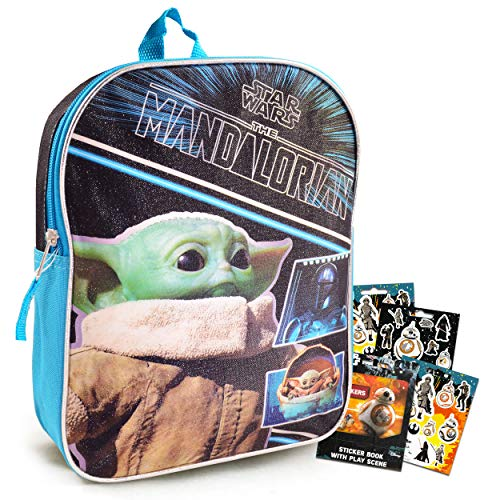 Mandalorian Baby Yoda Backpack for Toddlers Kids Bundle ~ Premium 11  Star Wars Mini School Bag with Stickers (Mandalorian School Supplies)