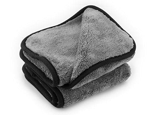 ginoclean® 2X Profi Auto-Poliertuch, weiches Microfasertuch, schonende Autopflege, Mikrofaser-Trockentuch, 1000gsm, 40x40cm, Grey | Grey