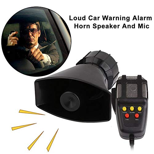 Best Buy! 5 Sound Loud Car Warning Alarm Police Fire Siren Horn PA Speaker MIC System CSL2017 (Black...