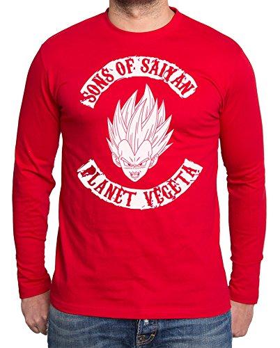 Sambosa - T-Shirt à Manches Longues - Homme - Rouge - Large