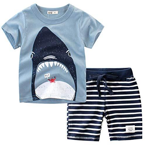 Baby Jungen Cartoon Dinosaurier T-Shirt Alwayswin Kleinkind Kinder Kurzarm Tops Camo Shorts Outfits Set Sommer Cool Mode Baby-Outfits Freizeit Outdoor Sport Babykleidung