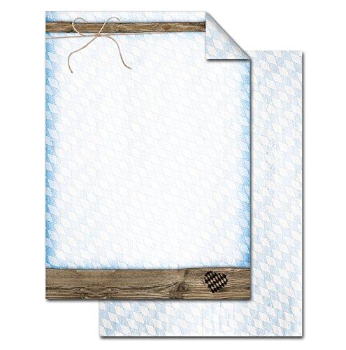 50 vellen briefpapier printpapier blauw-wit geruit BAYERN-RUTE bruin hout-look aan beide zijden bedrukt 100 g schrijfpapier motief-papier DIN A4 briefblad vintage hart