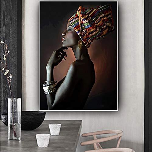 Retrato de Turbante de Mujer India Africana Lienzo Pintura póster e Impresiones Sala de Estar Mural Cuadro sin Marco Pintura 63cmX84cm