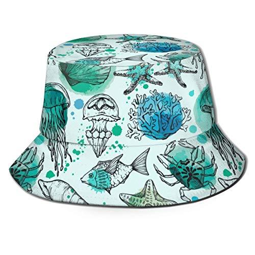 zhouyongz Bedruckte Meeresmuscheln Fische Korallen Jellyfis Fisherman Polyester Hut Casual Reise Kopfbedeckung Sonnenhut Fischmütze