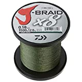Daiwa, J-Braid x4 Braided Line, 300 Yards, 15 lbs.008' Diameter, Dark Green