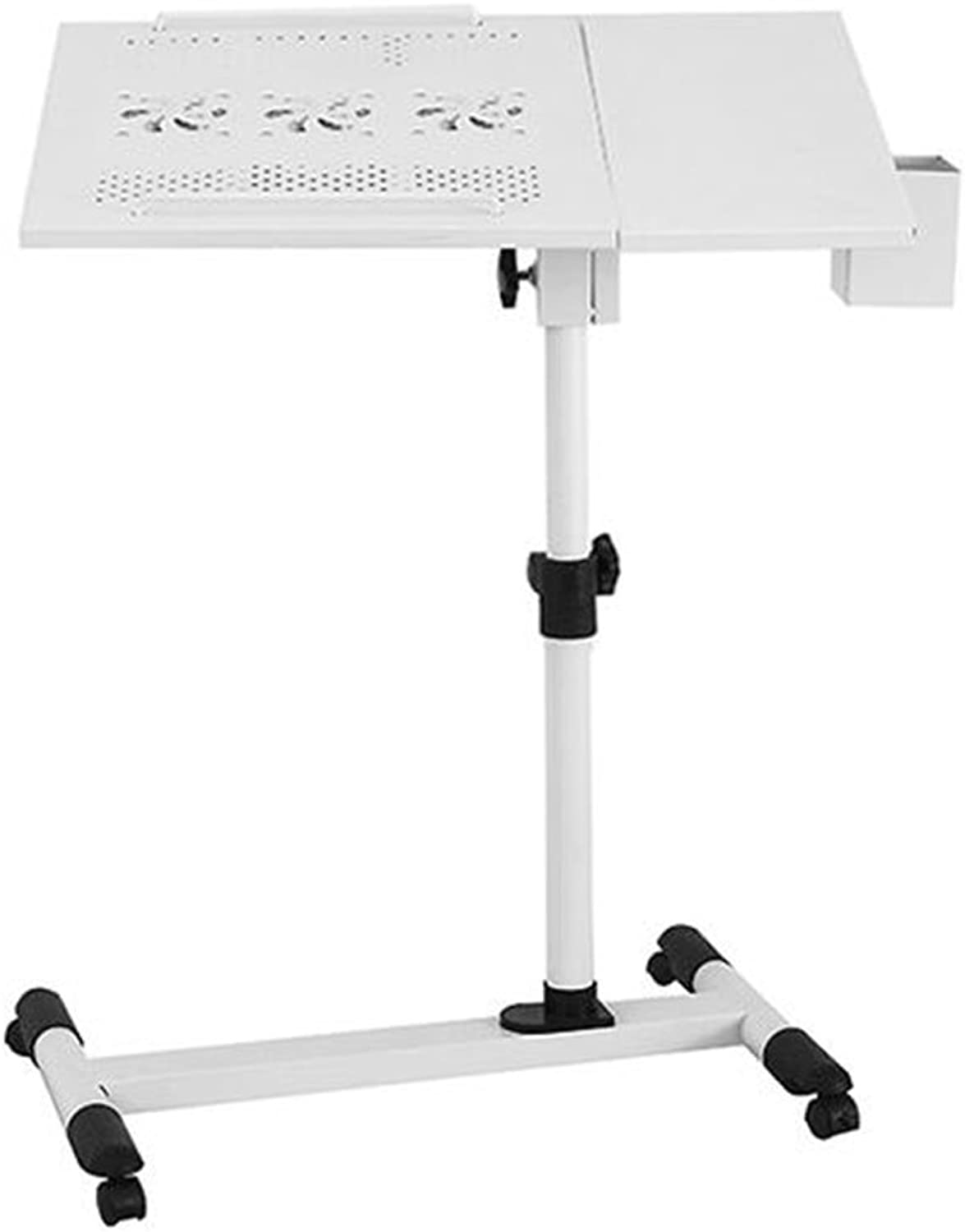 Zr- Environmentally-Friendly Cooling Laptop Table 360° redation Table Lazy Bedside Table Landing Table (color   White-a)