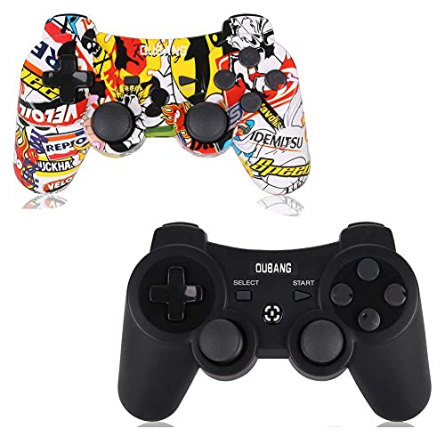 2 Pack PS3 Controller Wireless - OUBANG PS3 Remote for Playstation 3 with Dual Shock,The Best Choice for Gift (Graffiti+Black)