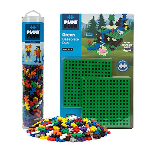 Plus-Plus - Baseplate Duo & 240 Piece Basic Tube Set - Construction Building STEM Toy, Interlocking Mini Puzzle Blocks for Kids