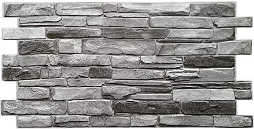 Paneles de pared de PVC 3D decorativos azulejos revestimiento – plata pizarra (10 piezas/4,9 m2)