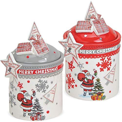 matches21 Dosen Plätzchendosen Keramikdosen Keksdosen Weihnachten Merry Christmas Keramik bunt 2er Set Ø 10x17 cm