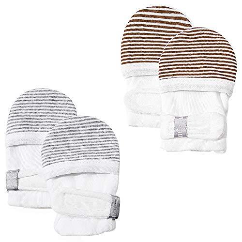 HAPIU Baby No Scratch Mittens,Newborn Baby Mittens,Gray&Brown Stripe,3-6 Months