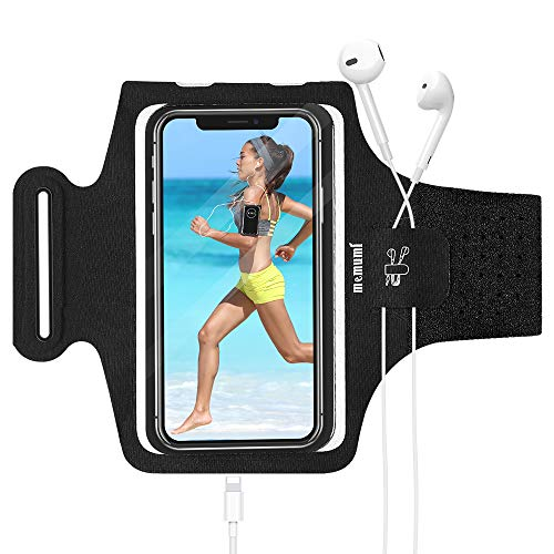 memumi Running Armband Handy für iPhone 11/11 Pro/iPhone XS/XR/SE, Handytasche mit Kopfhörerloch und Kartensteckplatz, Gym Sports Jogging Running, bis zu 6,5 Zoll (Black)
