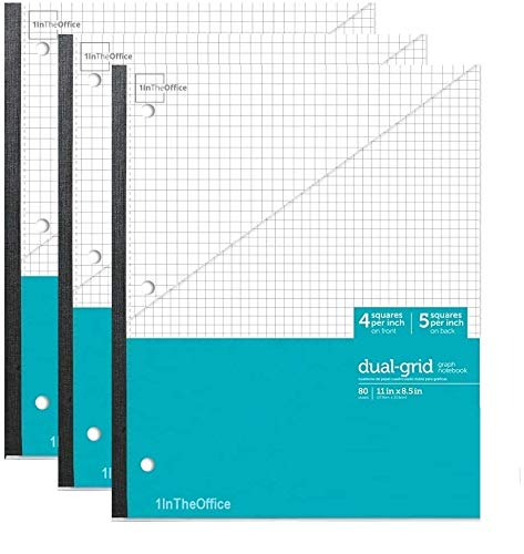 """1InTheOffice Graph Ruled Notebook, Graph Wireless Notebook, 8.5"""" x 11"""" Graph Paper Notebook, Teal Colored Quad Ruled Notebook, 3 Pack"""