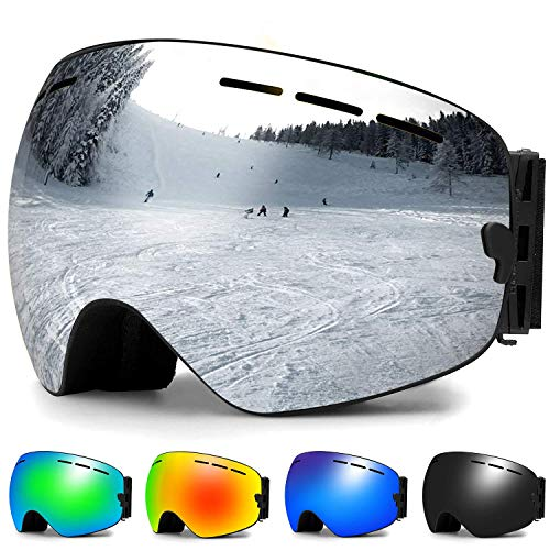 Zerhunt Skibrille, Snowboard-Schutzbrillen mit Anti-Nebel,UV-Schutz,Winddicht Skibrille für Wintersportarten, Skifahren, Skaten, Damen,Herren,Brillenträger (Silber)