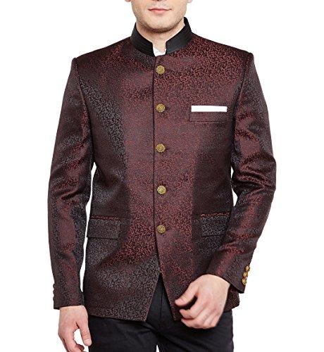 WINTAGE Männer Premium-Rayon Grandad Bandhgala Mantel Nehru Blazer Jacke: Maroon