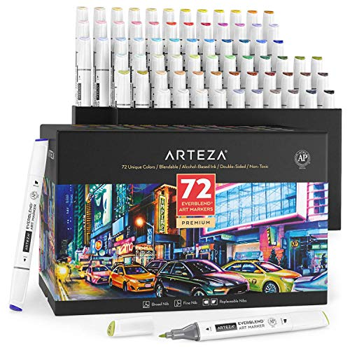 Arteza Art Alcohol Markers, Set of 72 Colors, Sketch Paint Markers with Dual Tips (Fine and Broad Chisel), Art Pens for Painting, Coloring, Sketching and Drawing Include Organizer Box