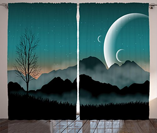 """Ambesonne Space Curtains, Night Sky on Mountain Range Forest Crescent Moon Star Cosmic Infinity Astral Graphic, Living Room Bedroom Window Drapes 2 Panel Set, 108"""" X 90"""", Black Teal"""