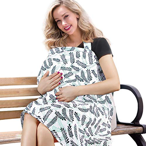 BONTIME Nursing Cover - Premium Organic Bamboo Cotton Breastfeeding Cover,Multi Used for Car Seat Covers Full Coverage to Protect Your Privacy
