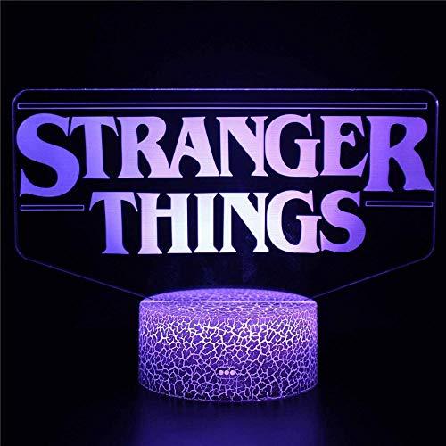 Stranger Things 3D-Illusionslicht, 3D-Lampe, Jungen-Nachtlichter für Schlafzimmer, dimmbar, Touch-Steuerung, Helligkeit, Licht für Heimdekoration und Geschenke für Liebhaber, Eltern, Freunde