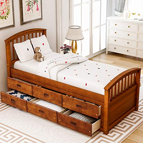 Storage Bed Frame Twin with 6 Drawers,JULYFOX Walnut Pine Wood Bed Platform with Slat Headboard Footboard Wood Slats No Box Spring Need Heavy Duty Captain's Bed for Small Spaces