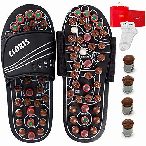 Zapatillas de masaje con piedras de jade y turmalinas, CLORIS Reflexología Masajeador de pies de acupresión, zapatos de cuidado de pies con un par de calcetines para hombres y mujeres