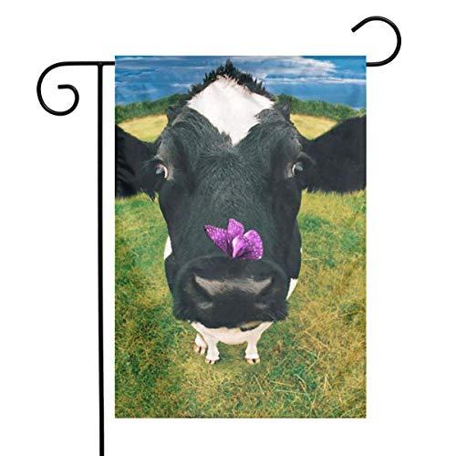 Not Applicable Drapeau de Jardin, Funny Cow Farm Animals Garden Flags Home Patio Small Garden Flags 32x45.7cm