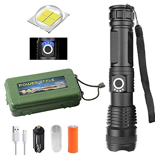 Linterna LED XHP50, 90.000 lúmenes, xhp50.2, linterna LED de alta potencia, con zoom USB, impermeable, para camping (FlashlightX + pilas 26650 + cable USB)