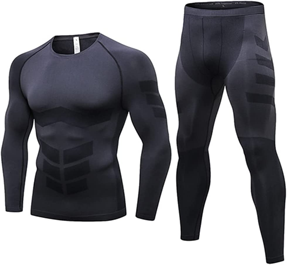 GYZCZX Winter Thermo Underwear Thermal Men Long Thermal Clothing Kit Long Compression Underwear (Color : A, Size : M Code)