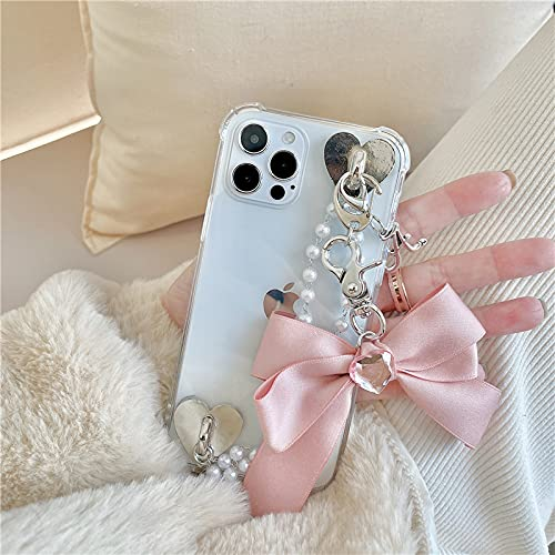 Funda para teléfono con Cadena de Perlas para iPhone 11 Pro MAX 12 Mini 7 8 6 Plus X XR XS SE 2020 Fashion Diamonds Love Bowknot Cover Bracelet, A, para iPhone 6 6s Plus