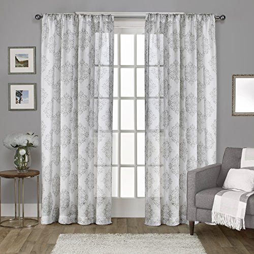 Exclusive Home Curtains Nagano Medallion Belgian Linen Window Curtain Panel Pair with Rod Pocket, 54x84, Dove Grey, 2 Piece
