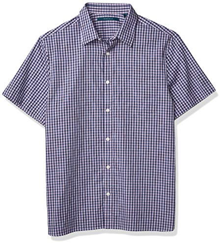 Perry Ellis Men's Short Sleeve Chk Spc Dye Shirt, Lavender Herb, X Large