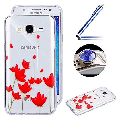 Etsue Coque Housse pour [Samsung Galaxy J5(2015)] Case ,Joli Imprimé Peint énergie Papillon Motif Design Anti-Scratch Protector Coque de Téléphone pour Samsung Galaxy J5(2015) Transparente Ultra Mince Supérieur Semi Transparent Doux TPU Coque avec [Gratuité stylet Tactil et Bling poussière plug pour le port des écouteurs] Gel Silicone Soft Case Cover pour Samsung Galaxy J5(2015) +1 x Bleu stylet + 1 x Bling poussière plug (couleurs aléatoires) - Lotus Flower