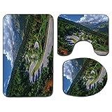 3Pcs Alfombra de baño antideslizante Juego de tapa de tapa de asiento de inodoro Alfombra de baño antideslizante suave al aire libre Vista natural del paso de Maloja Alpes Suiza Montañas de Europa Car