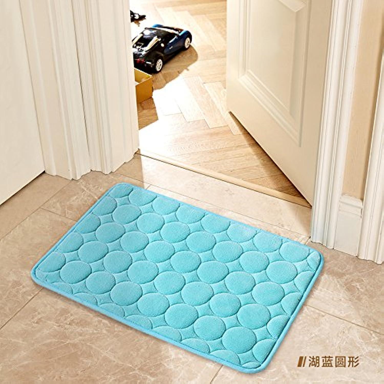 JinYiDian'Shop-Door Mat Matting Bathroom Floor Mat 40×60Cm, Lake bluee Circle