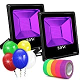 Black Lights for Parties 2 Pack, 80W Led Flood Light Blacklight Ultraviolet Lamp, for Fluorescent Neon Glow in The Dark, Halloween Christmas Decorations, DJ Disco Stage Night Club, Body Paint