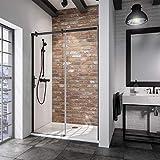 Schulte porte de douche coulissante, paroi en niche Black Style, profilé noir, verre transparent, 160x200 cm