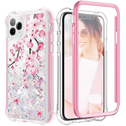 Caka - Funda para iPhone 11 Pro con purpurina líquida, cuerpo completo, protección resistente, a prueba de golpes, rosa cerezo, para niñas y mujeres