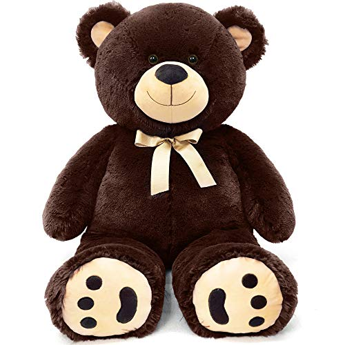 LotFancy 3ft Big Teddy Bear Stuffed Animals, Soft Cuddly Stuffed Teddy Bear Plush, Large Stuffed Animal Toys with Footprints, for Kids, Girls on Birthday Valenitne's Day, 36in