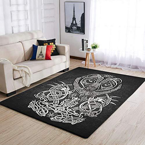 STELULI Viking Bear - Alfombra de poliéster para fiestas de vacaciones, 91 x 152 cm, color blanco