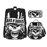 Guns'N-Roses-Skull - Mochila de viaje con diseño de calavera, color negro y blanco