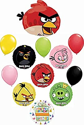 Angry Birds Party Supplies Birthday Balloon Bouquet Decorations 12 piece kit