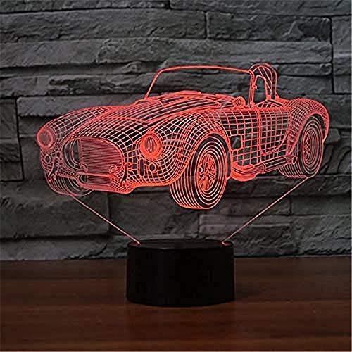 Relovsk Nachtlampje 3D Sports Car Shape Light LED 7 kleuren kleurverandering nachtlicht Creative Bebroom Decor tafellamp planken