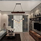 Unitary Brand Rustic Black Metal and Wood Farmhouse Pendant Lighting for Kitchen Island with 8 E26 Bulb Sockets, Industrial Hanging Lights, Dining Room Pendant Light Fixtures