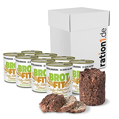 ration1 Fitness Hafer-Vollkornbrot 8 x 500g - 10 Jahre haltbar! Vegan & Laktosefrei! Einfach öffnen und genießen!
