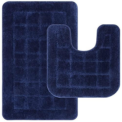 Pauwer Alfombrillas de baño Antideslizante de 2 Piezas, Alfombras de Baño de Microfibra Suave Cómodo Absorbente de Agua Inodoro Alfombra de Baño Pedestal