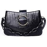 GLORY Bolso bandolera mujer negro pequeño con cadena de adorno | Piel sintética | Textura cocodrilo
