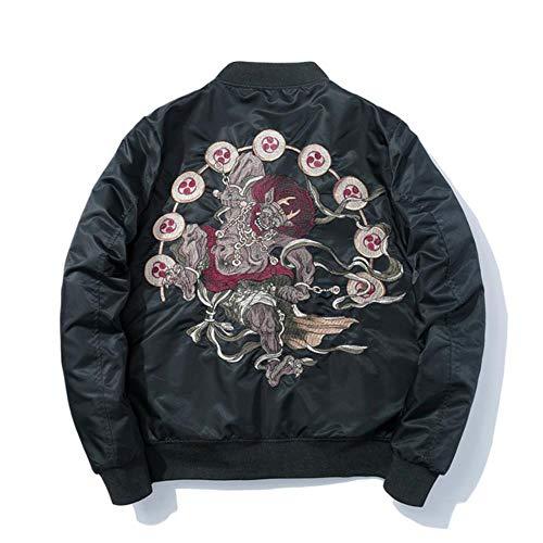 XIELH geborduurde jassen, warme winterjas, bomberjack, pilotenjack, voor heren, herfst geborduurd, mantels, fijne jas, zwart (fijn), S